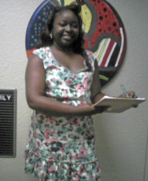 Photograph of Ms. Latreece Perry, a student enrolled in the Concentration in Applied Sociology at the University of Tampa, at her internship site with the Hillsborough County Aging Services, in Tampa, Florida, in 2011